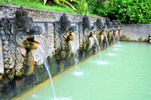 Air Panas Hot Spring in Banjar, on the island of Bali, Indonesia. The water is said to have healing properties without the surplur smell you usually find at most hot springs.