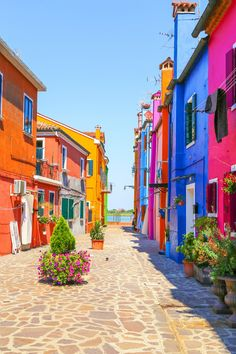 Venice, landmark, Burano island, canal, colorful, houses, italy